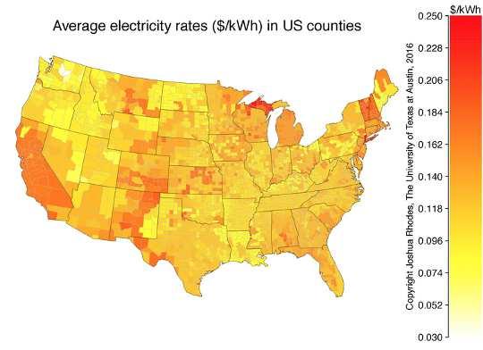 अमेरिका ईआईए भर में औसत बिजली की दरों के मानचित्र