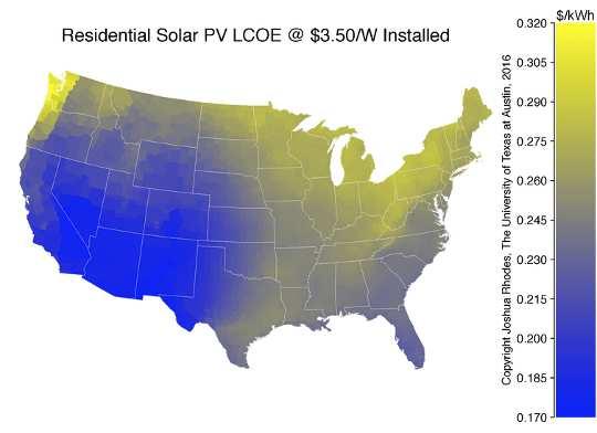 अमेरिका भर में आवासीय सौर के एलसीओई