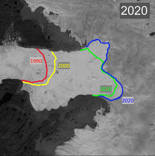 The blue line shows the current boundary between the Jakobshavn Glacier (right side, light gray) and the floating ice (center, white) between the valley walls (top and bottom, dark gray). The other colored lines show where this boundary was in previous years.