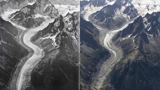 증거는 후퇴에 온난화의 얼음 세계를 보여줍니다