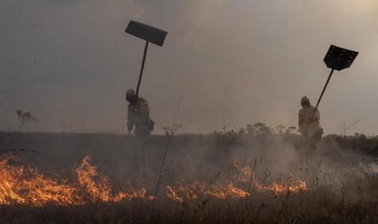 رجال الاطفاء الأصليون يعالجون حرائق البرازيل